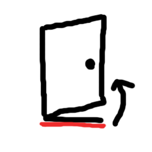開き戸(押すドアのタイプ)の隙間テープ場所