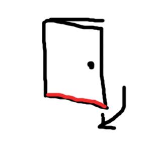 開き戸(引くドアのタイプ)の隙間テープ場所