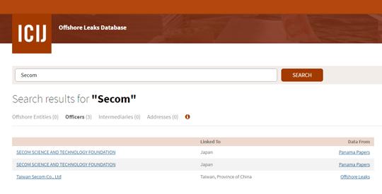 パナマ文書 検索結果