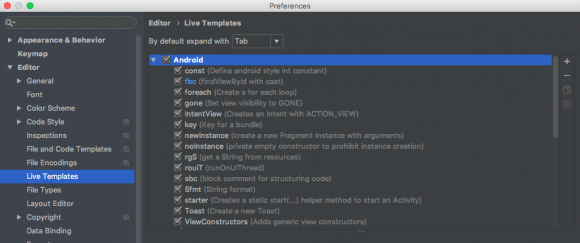 android studio live template